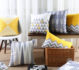 Wholesale modern green pillow - Triangles Chevron Stripe Arrows Art Cushion Covers Nordic Modern Abstract Geometric Cushion Cover Sofa Throw Decorative Velvet Pillow Case