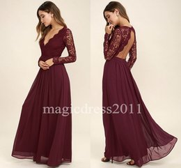 Wholesale Cheap Lavender Dresses For Sale - 2017 Lace Bodice Burgundy Bridesmaid Dresses Chiffon Skirt Illusion Bodice Long Sleeves A-Line Junior Bridesmaid Dresses Cheap for sale