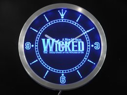 Wholesale Beer Wall Light - Wholesale- nc0159 Wicked The Musical Bar Beer Neon Sign LED Wall Clock