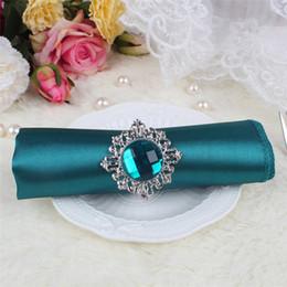 "Wholesale Teal Wedding Tables - 10pcs lot Teal Blue Square 12"" Satin Dinner Napkins or Handkerchiefs Wedding New Table Serviettes -NPK"