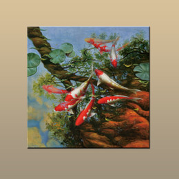 Wholesale Modern Art Fish Paintings - New Arrivals Free shipping Modern Abstract Home art wall decor China wind Feng Shui Fish Koi painting HD Picture Printed on canvas DW38