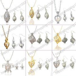 Wholesale Earrings Wishing - Newest Love Wish Pearl Cages Locket Pendant Jewelry Sets Freshwater Pearls Oyster Pendant Earrings & Necklace Sets(Excluding Pearl Canned)