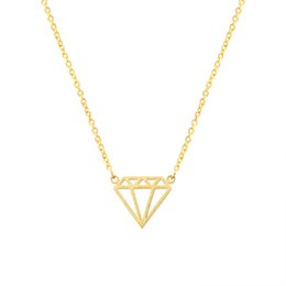 Wholesale Triangle Shaped Necklace - Wholesale 10Pcs lot 2017 Stainless Steel Jewelry Pendant Geometric Triangle Silver Necklace Diamond Shape Gold Chain Choker Necklaces