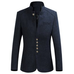 Wholesale Chinese Wool Jacket - Wholesale- 2017 New Fashion Chinese style Suit Jackets Mens Spring Autumn Classic Formal Wool Single Breasted Mandarin Collar Men Blazer6XL