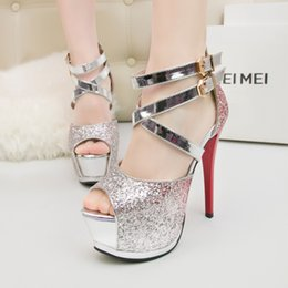 Wholesale Platfrom Pumps - Women Shoes Bling Extreme High Heel Sandals Peep toe Buckle Pumps Sexy Platfrom Shoes blue purple Red