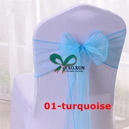 Precios de fundas para sillas de boda online-Precio de venta al por mayor Organza Chair Sash \ Wedding Chair Sash Fit en la cubierta de la silla de la boda