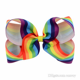 """Wholesale Hair Printed Ribbons - 6"""" Girls Rainbow Bow Clips Baby Bubble Flower Ribbon Bowknot Hairpin Kids Large Barrette Hair Boutique Bows Children Hair Accessories KFJ42"""