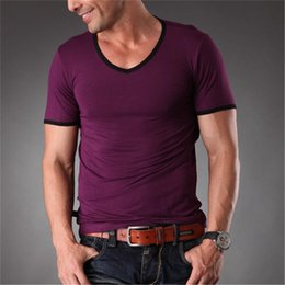 Wholesale High V Necks Shirts Mens - Wholesale- Azel High Quality New Mens Bamboo Fiber Plain T Shirt V Neck Slim Fit Workout Tops Tees For Men Clothes 2016 Summer MT-1351