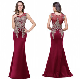 Wholesale Celebrity Evening - Designed Cheap Sheer Crew Evening Dresses A Line Floor Length Party Prom Bridesmaid Dresses 2017 Appliqued Beaded Burgundy Celebrity Gowns