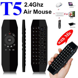 Wholesale Android Usb Microphone - T5 Mic 2.4G Wireless Fly Air Mouse with Microphone Voice Universal Remote Control Keyboard IR Learning Mini Keyboard For Android TV Box PC