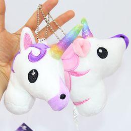 Wholesale Kids Stuff Wholesale - Unicorn Plush toys Crystal Soft Stuffed Rainbow horse Key Pendant Kids gifts Cartoon Bag hanging accessories 2017 Hot Pink Purple 13*10cm