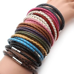 Wholesale Magnetic Clasps For Leather Braids - Wholesale-2016 New Fashion 100% Genuine Braided leather bracelet Men Bracelet for Women Jewelry with Magnetic Clasps Charm Bracelet F2821