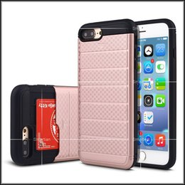 Wholesale Hard Plastic Credit Card Case - For iPhone 7 7plus iphone 6s Plus Grid Slip Cover Hybrid Armor Case Credit Card Slot 2 in 1 Hard Shell Back Cover With Opp Package
