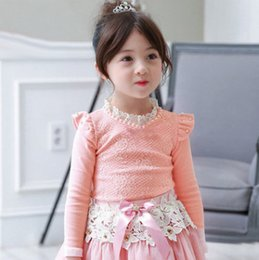 Wholesale Flying Pearl - Girls plaid T-shirt autumn kids pearl lace hollow collar fly sleeve princess pullover children jacquard lace cotton bottoms R0184