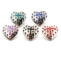 Wholesale Enamel Cross Charms - Mix Colors Enamel Cross Heart Noosa Chunks Metal Ginger 18mm Snap Buttons For Bracelet Jewelry Findings