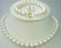 Wholesale Akoya Pearls Silver - 8-9mm Natural Akoya Cultured Pearl 14K GP Necklace + Bracelet + Earrings set