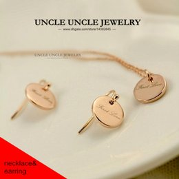 Wholesale First Engagement - Office Lady Favourite!!! Rose Gold Color Simple Design First Love Round Lady Jewelry Set Earrings Necklace Wholesale
