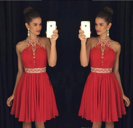 Wholesale Beaded Chiffon Mini Dress - 2017 Red Sweet 16 Homecoming Dresses Halter Neck Vestido Formatura Curto Beaded Crystals Rhinestones Ruched Backless Short Prom Dresses