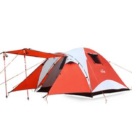 Водонепроницаемая ветрозащитная палатка онлайн-Wholesale- Waterproof 3-4 Person Outdoor Camping Tent Windproof Beach Fishing Travel Tents 4 Season Double Layer Family Tourist Hiking Tent
