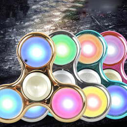 Wholesale Toys Color Red - Hand Finger Spinner Figet 3d Figit With LED Light 360 Spin Pocket EDC Toys Random Color