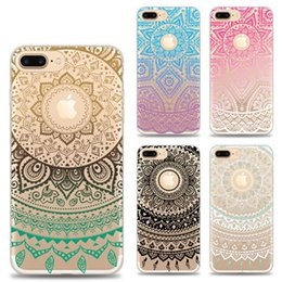 Wholesale Iphone Case Gel Flower - For iPhone X Variety Design Flower Mandala Printing Painting Phone Soft TPU Gel Clear Transparent Case For iPhone 6 6S 7 Plus 8 8plus