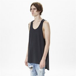 Wholesale Yellow Punk Clothes - Wholesale- 2016 summer black grey white solid muscle shirt clothing tanks korean punk vest fitness men extended tank tops