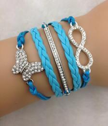 Ordenar mariposas online-Al por mayor-3pcs pulsera del infinito, pulsera del ancla, pulsera de la mariposa, bracelt de cuero, pulsera para el regalo de navidad 3241 mini orden 10 $
