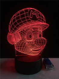 Wholesale Mario Face - Super Mario Bros Action Figure Toy Decoration Light Led Usb 7 Colors Changeable 3d Touch Night Light For Indoor Lighting