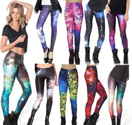 Wholesale Galaxy Girls Pant - Retail Fashion Women's Black milk mixed style skull Adventure Time galaxy prints elastic bodybuilding sexy Girl Leggings Pants