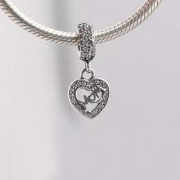 Wholesale Made Center - Real 925 Sterling Silver Center of My Heart, Clear CZ Fit Original Bracelet Diy Jewelry Making