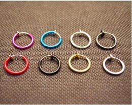Wholesale Earring Clamps - Color no hole round earrings clip false clip-on earrings ear bone clamp spring ear clip nose ring belly button ring