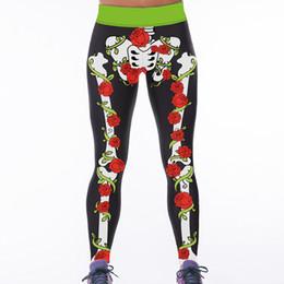 Wholesale Knitted Leggings For Girls - Sports Elasticity Yoga Pants for Women Printing Skeleton Active Running Fitness Training Girls Slim Polyester Woman High Waist Long Leggings