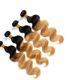 Wholesale Two Bundles Hair Weaving - 7A grade ombre brazilian hair 1b 27 two tone body wave 3 bundles brazilian virgin hair body wave cheap ombre human hair
