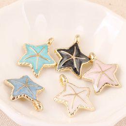 Wholesale Enamel Starfish - Free Shipping 10pcs lot Enamel Zinc Alloy Ocean Animal Starfish Gold Plated Charm Pendant DIY Bracelet Necklace Jewelry Making 22*27mm