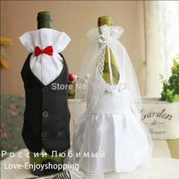 Wholesale Bride Groom Wine Glasses - Wholesale-Wedding Decorations Hot Sale 2015 Hot Bride And Groom Dress Wine Glass Champagne Bottle Decoration Wedding Patry Cover Supplies