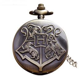 Wholesale Steampunk Fob - 10 PCS Hogwarts Harry Potter Necklace Pocket Watch Vintage Pocket Watches Men Women Watch Chain Steampunk Fob Watch Retro Quartz Clock