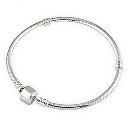 Wholesale 925 Sterling Silver 3mm Bracelet - 8 Inches Original 925 Sterling Silver Plated Snake Chain Fit 3mm Beads Bracelets For DIY Women Jewelry Accessories