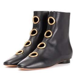 Wholesale Boots Big Sizes - New Arrive Autumn Boots Women 2017 Fashion Genuine Leather Metal Big Round Hollow Out Ankle Boots Femmes Size 35-42EU