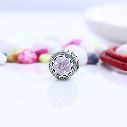 Wholesale Solid Silver Pandora - Magnolia Bloom, Pale Cerise Enamel & Pink CZ Charm Solid 925 Silver Beads Fit Pandora Bracelets Bangles Factory Wholesale