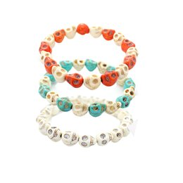 Wholesale Handmade Stretch Bracelets - 2017 different colors women bracelets skull stone bead buddha bracelets adjustable stretch handmade charm bracelet fashion jewelry new