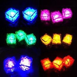 Wholesale Light For Drinking Bar - Fashion Flash Ice Cube Water-Actived Flash Led Light Put Into Water Drink Flash Automatically for Party Wedding Bars Christmas