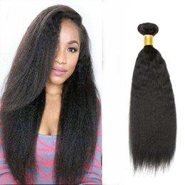 Wholesale Brazilian Yaki Hair 1b - 4 Bundles Unprocessed Ali Moda Italian Kinky Straight Hair Italian Virgin Hair Yaki Straight Human hair Weave Bundles Color 1B