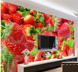 Wholesale Strawberry Fabric Wholesale - Luxury European Modern Strawberry tooling background wall mural 3d wallpaper 3d wall papers for tv backdrop