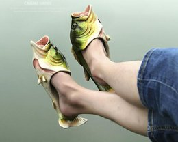 Wholesale Fishing Booties - Family Slipper Creative Type Fish Slippers Woman Handmade Personality Fish Sandals Kids Women Bling Flip Flops Slides Fish Beach Slippers