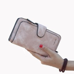 Wholesale Faux Fur Clutch - New Leather Women Wallet High Quality Design Hasp Solid Color Card Bags Long Female Purse 4 Colors Ladies Clutch Wallet