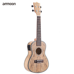 "Wholesale Rare Shells - Wholesale- ammoon 24"" Deadwood(Rare Material)Ukulele Hawaii Guitar with LED EQ Cowry Shell Brims OX Bone Saddle 4 Strings Instrument"