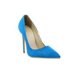 Scarpe in pelle alligatore online-Donne in vera pelle Impera Pump Alligator Tacchi alti Sexy scarpe da sposa a punta delle donne