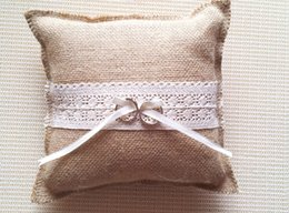 Wholesale Bow Cushions - Wholesale-rustic country hessian Burlap wedding ring bearer  burlap ring pillow lace bow ring cushion