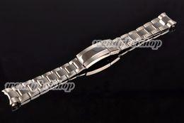 Wholesale Solid Bracelets - Wholesale-20mm Hot Sell New Man Woman Silver Polished Shine Brushed 316L Solid Stainless Steel Curved End WatchBand Strap Bracelet Belt
