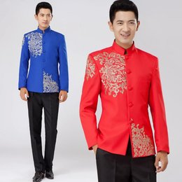 Wholesale Mens Dress Set - Wholesale- White black red blue embroidered men chinese tunic suit set slim with pants mens suits wedding groom formal dress costume